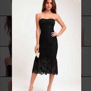Lulu's Sweetheart Strapless Black Dress